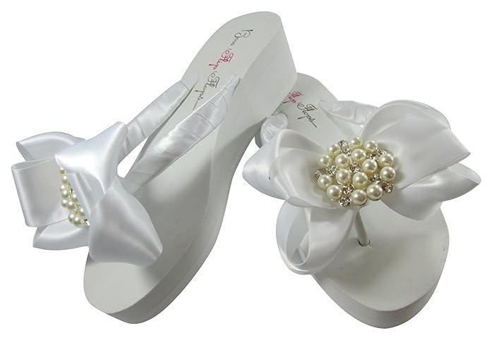 e9d902715 Amazon.com  Pearl and Rhinestone Satin Bow Wedding Flip Flops in White or  Ivory  Handmade