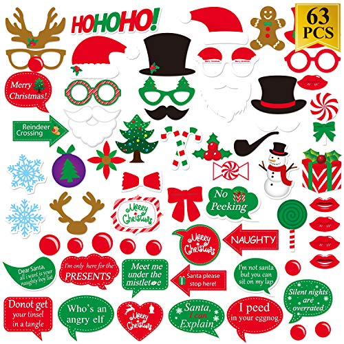 Christmas Photo Booth Props Kit (63pcs), Christmas Dress-up Decoration Party Supplies ()