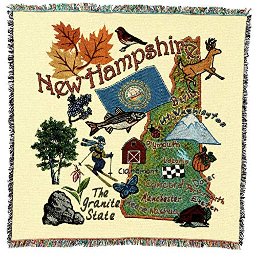 (Pure Country Weavers   New Hampshire State Woven Throw Blanket Cotton USA 54x54)