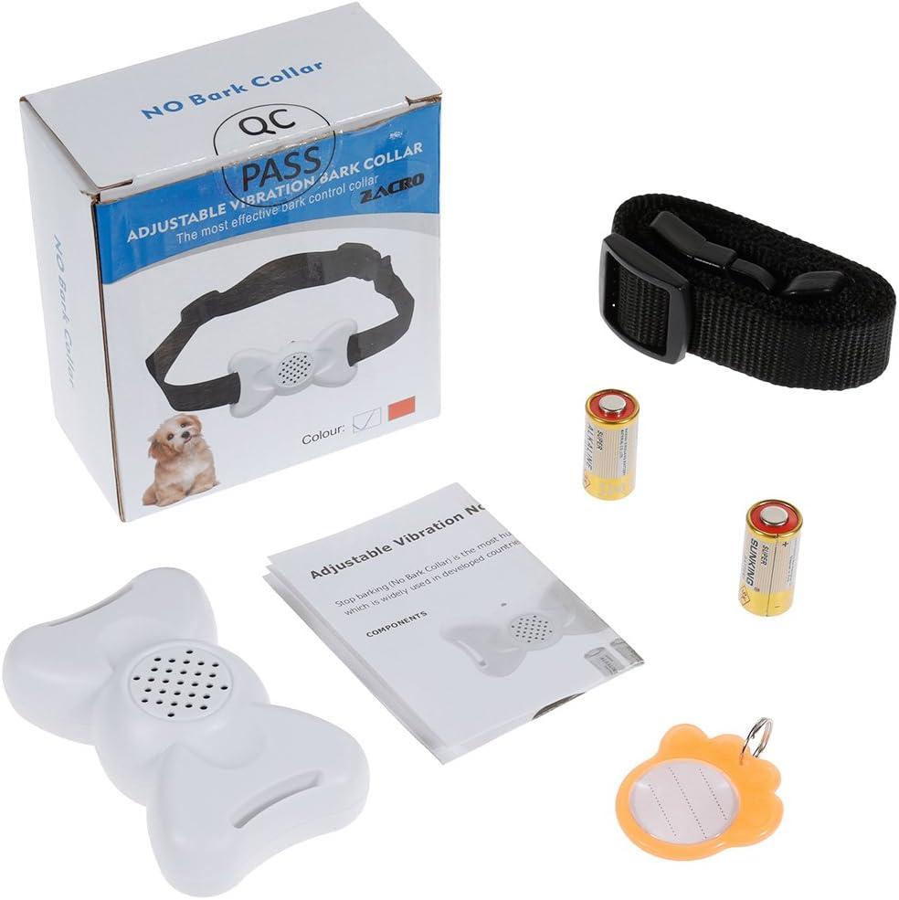 No Shock No Spiky Prongs Humane and Safe Training Device Vibration and Sound Anti Bark Collar White Zacro DC295 Dog No Bark Collar