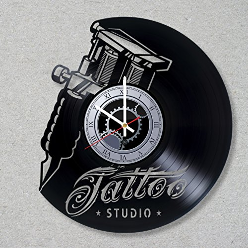Vinyl Record Wall Clock Tattoo Ink Studio Tattoo Master decor fashion unique gift ideas for friends him her boys girls World Art Design