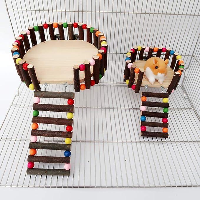 POPETPOP Juguete de Escalera de Plataforma de Madera de H/ámster Creativo Peque/ño Animal Escalera de Plataforma Valla de Escalada Juguete-Tama/ño S
