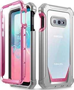 Galaxy S10e Rugged Clear Case, Poetic Full-Body Hybrid Bumper Cover, Support Wireless Charging, Includes Built-in-Screen Protector, Guardian Series, Case for Samsung Galaxy S10e 2019, Pink