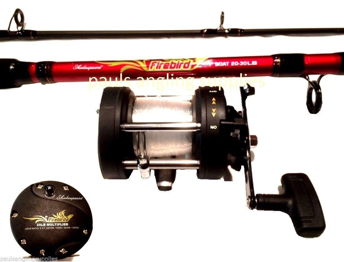 shakespeare firebird boat rod and left hand wind fishing reel combo