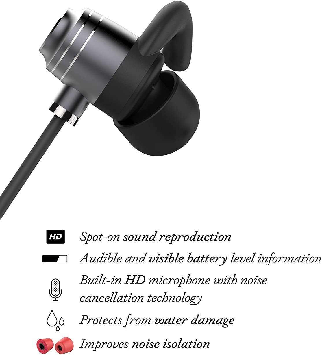 truwire Huawei P8 Bluetooth Headset In-Ear Running Earbuds IPX4 Waterproof with Mic Stereo Earphones works with CVC 6.0 Noise Cancellation Apple Samsung,Google Pixel,LG