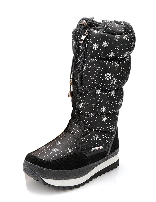 Aisun Women's Warm Cute Floral Snowflake Round Toe Platform Dress Front Zipper Low Heels Mid Calf Snow Boots Shoes