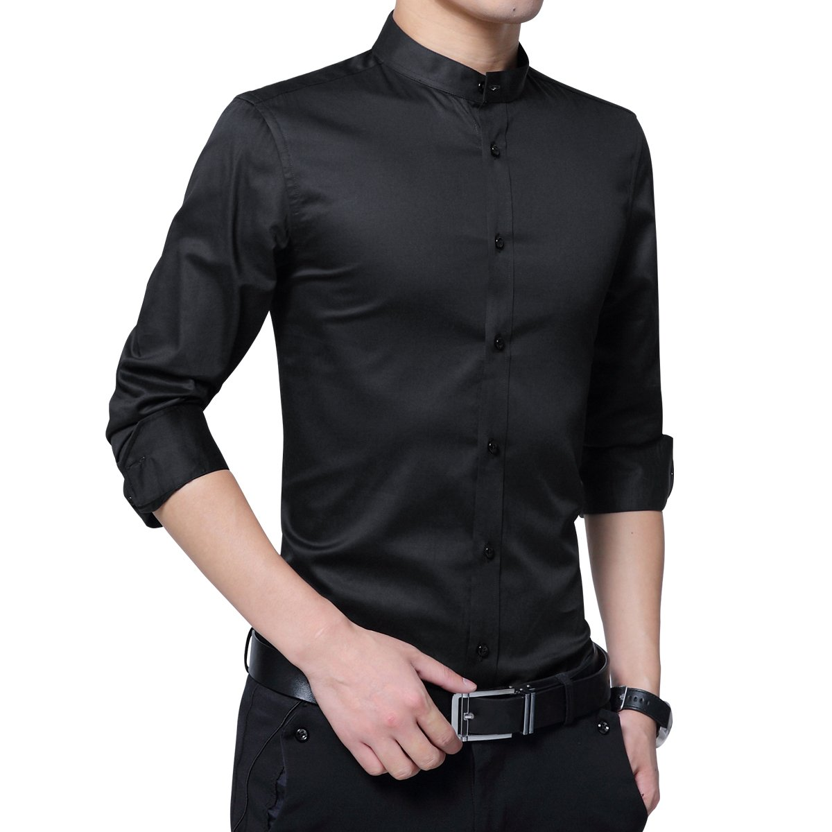 2b45ad3de Boyland Men's Dress Shirt Banded Collar Long Sleeve Slim Fit Tuxedo Shirt  Cotton at Amazon Men's Clothing store: