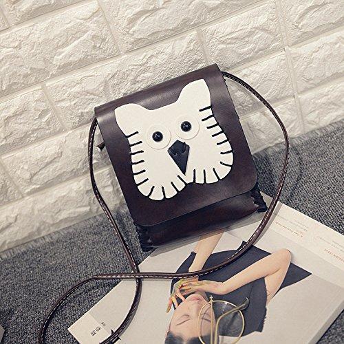 Solo Bolso De Hombro Diagonal Tendencia De Coreano Cartoon Lovely Lady Bolso De Mano,Perro Marron Claro Los búhos son de color marron oscuro