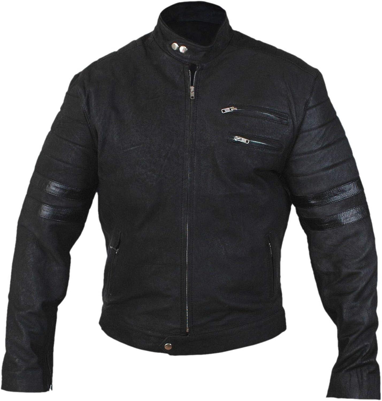 F/&H Mens Stonewashed Genuine Leather Black Stripe Hybrid Mayhem Cafe Racer Jacket