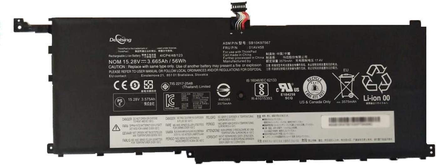 Dentsing 01AV458 (15.28V 56Wh/3665mAh 4-Cells) Laptop Battery Compatible with Lenovo ThinkPad X1 Carbon 4th Gen Series Notebook 4ICP4/48/123 SB10K97567