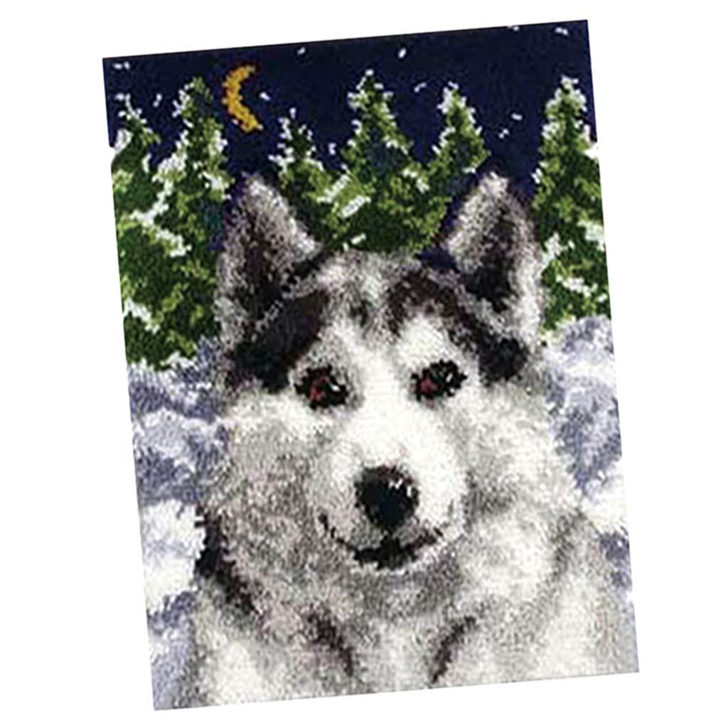 Tiger SM SunniMix Latch Hook Kit DIY Hand Craft for DIY Pillow Mat Sofa Cushion Tapestry Carpet Rug 75x57cm