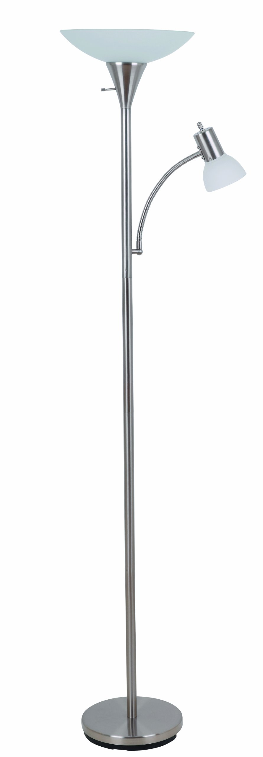 Catalina Lighting 17539-000 Contemporary Torchiere Floor Lamp with Adjustable Reading Light and Frosted Glass Shade, 71'', Brush Steel