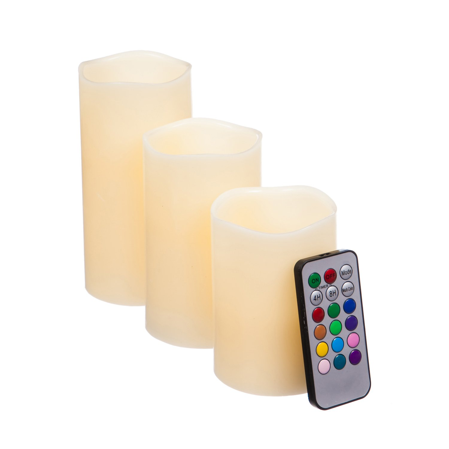 Cypress Home Color-Changing Flameless LED Pillar Candles with Remote, Set of 3
