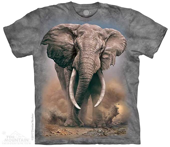 e9495f3f571d Tuff America African Elephant Medium T-Shirt Gray Child Boy s Girl s Short  Sleeve