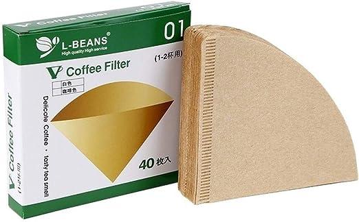 GLANGYU Filtro Cafe Papeles De Filtro De Café 40PCS Sin Blanquear Papel De Goteo De Madera Herramientas De Café En Forma De Cono (Color : Natural): Amazon.es: Hogar