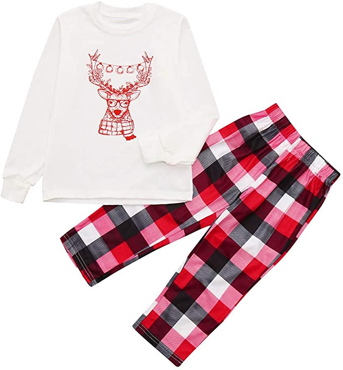 XGao Christmas Pajamas Pajamas Set Christmas Toddler Plaid Children Kids Deer Printed Top+Plaid Pants Xmas Family Clothes Romper Jumpsuit Outfit Boys Girls for 2-12 Years Old