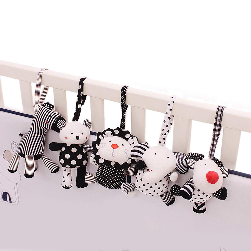 SHILOH Baby Crib Stroller Carseat Decoration 5PCS White & Black (Zoo Animals) by SHILOH