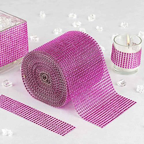 Efavormart Glittering Faux Diamond Dazzling Faux Rhinestone Mesh Ribbon Wrap for Arts and Crafts 4.5x10 Yards/roll Fushia