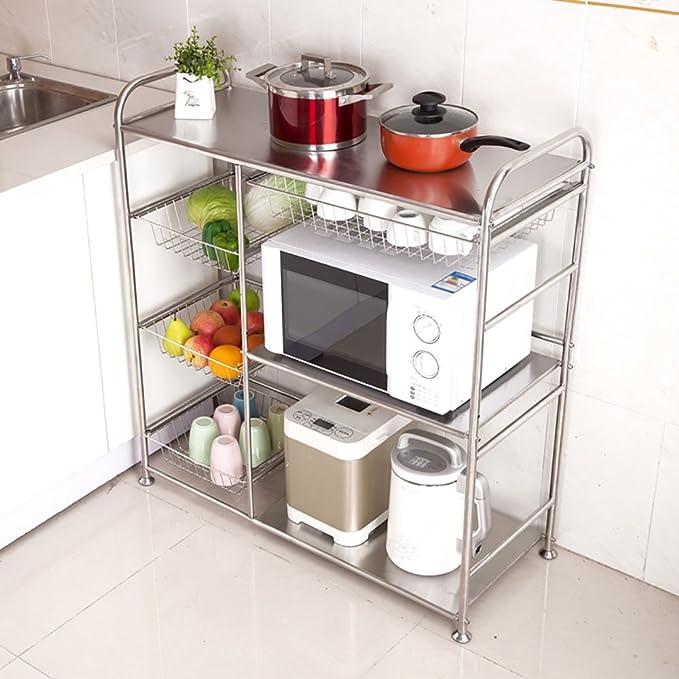 XUE Cuatro Capas de Acero Inoxidable de Horno de microondas estantería, se Puede Deslizar Cocina Estante de Cocina, con Carga de 70 Kg (Plata): Amazon.es: ...