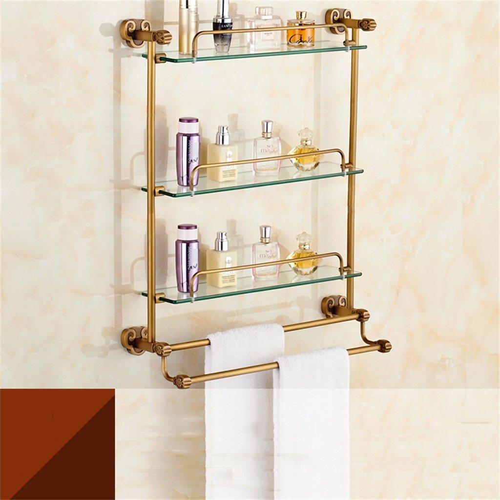 ALUPガラスの棚ドレッシングテーブル模造の古代のバスルームのバスルームシェルフヨーロピアンスタイルの真ちゅう (サイズ さいず : 53*64cm) B07D58W1PG 53*64cm 53*64cm