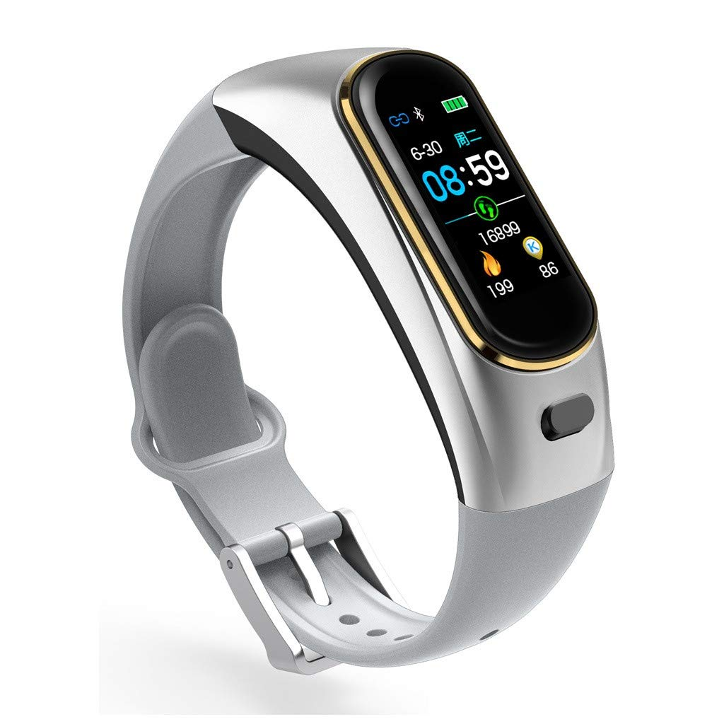 H109 Bluetooth Wireless Earphone Blood Pressure Heart Rate Monitor Sport Smart Bracelet for Apple for iPhone (Silver)
