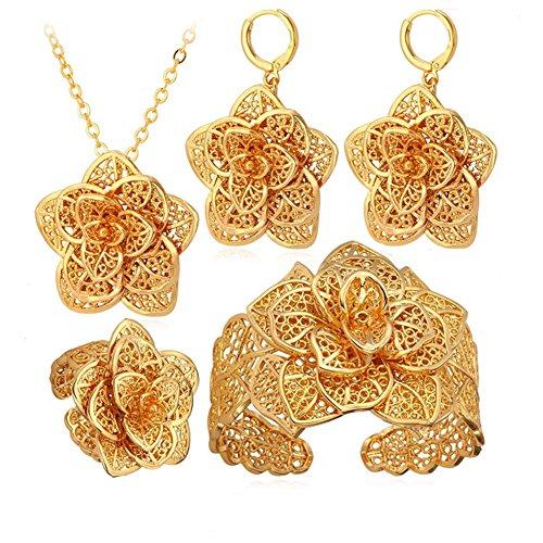 Djinn Costumes (Exquisite Big Flower Ramadan Set Ring Earrings Bracelet Islamic Muslim Arab Necklace Pendant)