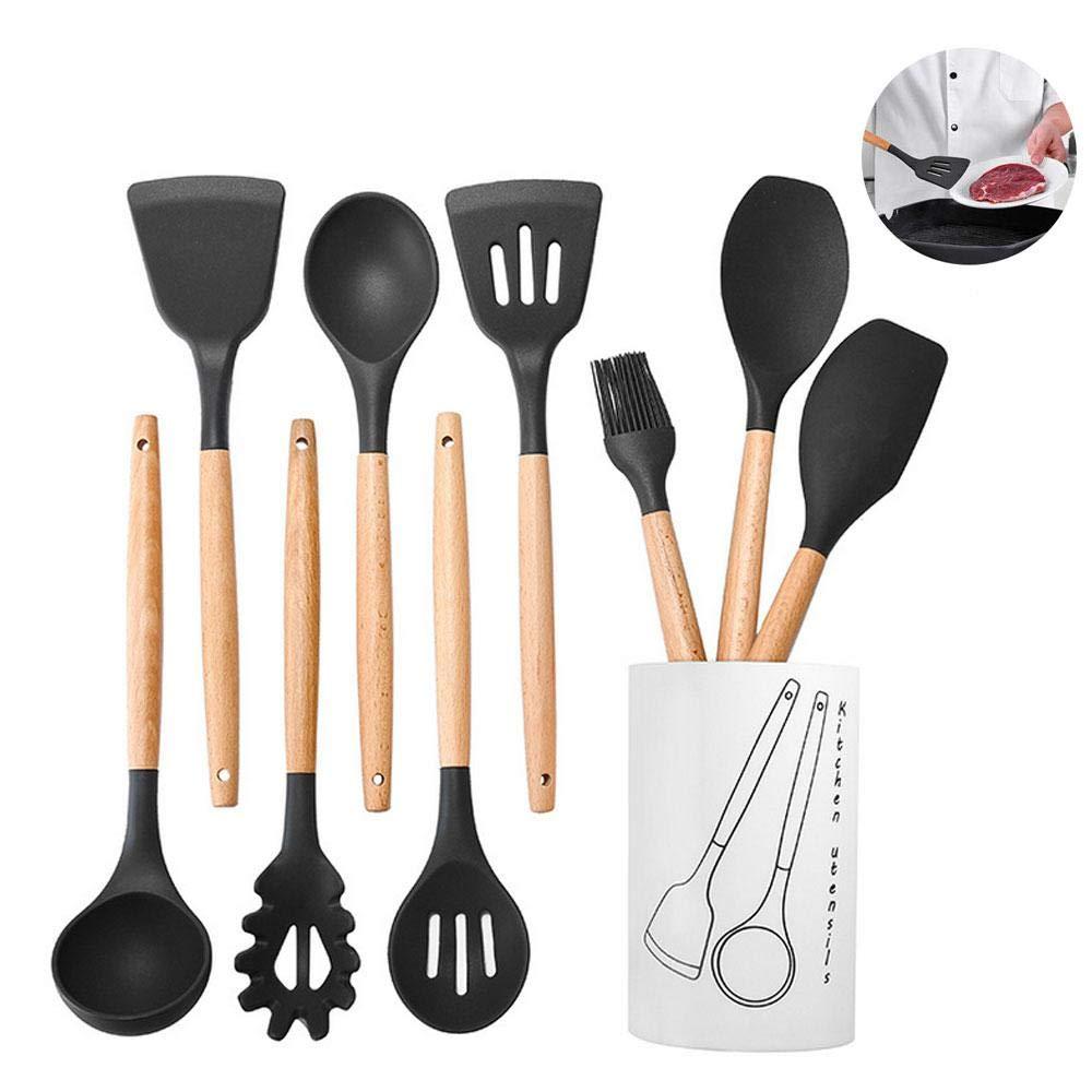 with Kitchen Bucket -Black Durable 8 Piece Set Heat Resistant Silicone Kitchen Utensils Set Stainless Steel Handle Kitchen Utensils
