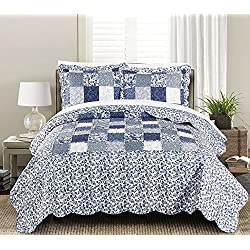 Blissful Living Luxury Ruffle Quilt Set Including Shams - Lightweight and Soft for all Seasons - Joyanna Indigo - Twin