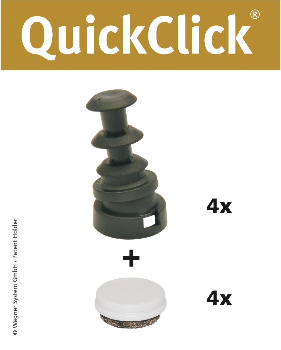 'Wagner QuickClick® Sedia gleiter//set di piedini da per inserimento in rotondo tubi//Duo–Diametro interno 10mm/diametro esterno 14mm–15831900 Wagner System GmbH