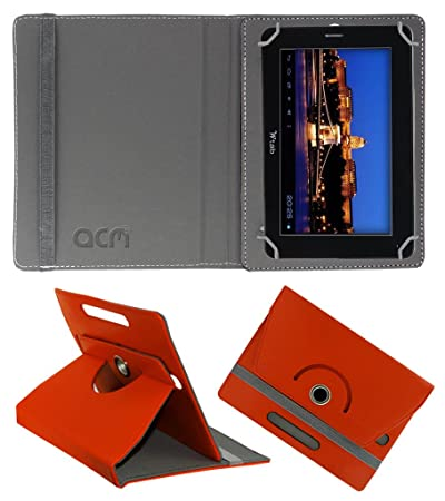 Acm Rotating 360 Leather Flip Case Compatible with Bsnl Champion W Tab 705 Cover Stand Orange Tablet Accessories