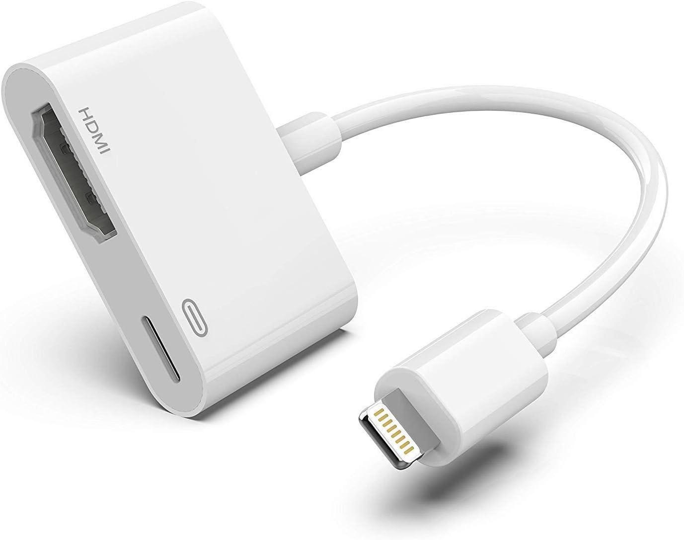 Adaptador HDMI para iPhone, 1080P Digital AV Audio Adaptador de sincronización de Pantalla con Puerto de Carga para iPhone XS/XR/X/8 7 6, iPad y iPod Modelos en TV/Monitor/proyector (Blanco): Amazon.es: Electrónica