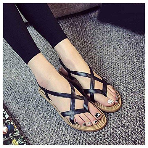 Summer Sandals, Inkach Women Flat Shoes Bohemia Bandage Leisure Lady Sandals Outdoor Shoes Black