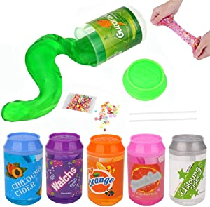 SWZY Slime Silk Mud Crystal Slime, Magic Clear Slime Soft Putty Clay Scented Stress Relief Sludge DIY Toy for Kids Adult, 6 Pack with 2 Straws and 1 Fruit Slice