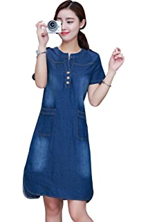 a7f8d69a8720 Yiitay Women Summer Plus Size Denim Dresses Casual Elegant Cowboy ...