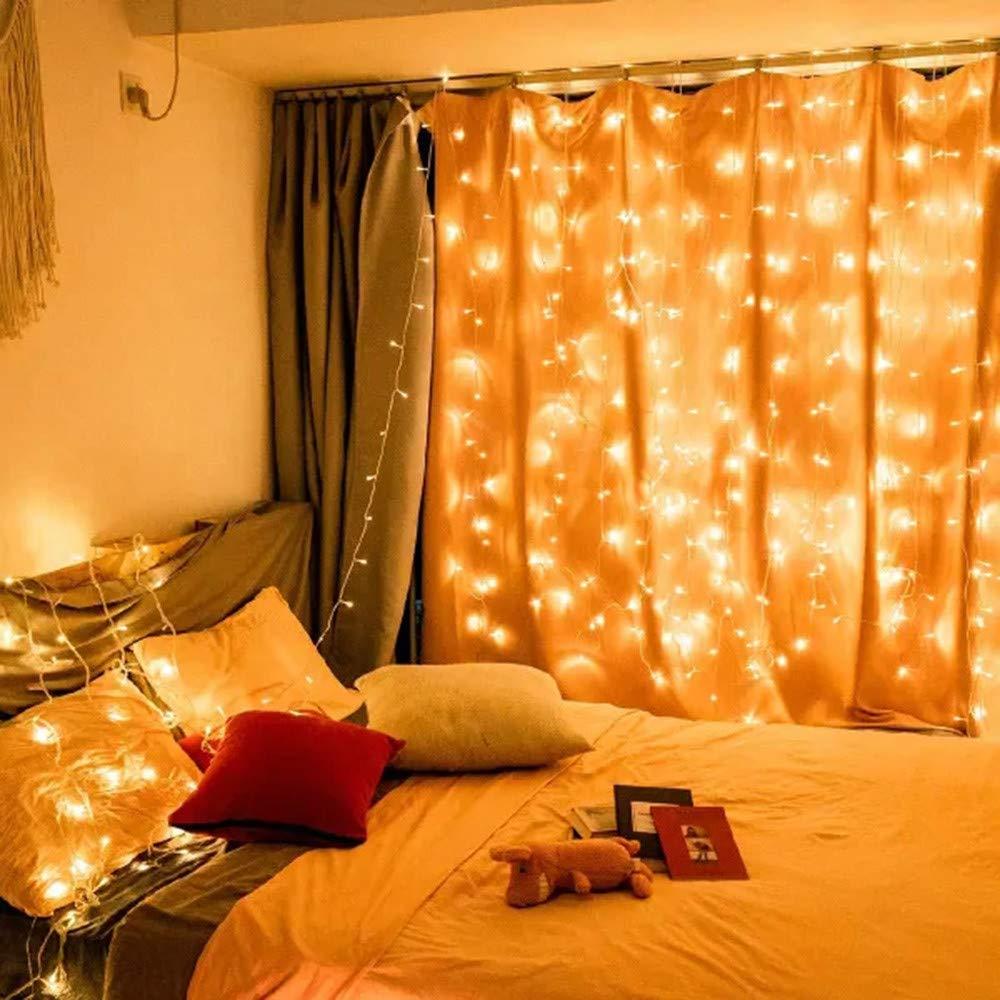 Qomomont Dekoration Eisbar Licht 240 LEDs 3x2m Vorhang Lichterkette LED Foto Clip Lichterketten f/ür Zimmer