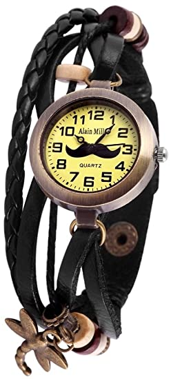 Alain Miller Mujer Reloj Reloj Mint verde piel pulsera 19 cm Negro rp3705760005: Amazon.es: Relojes