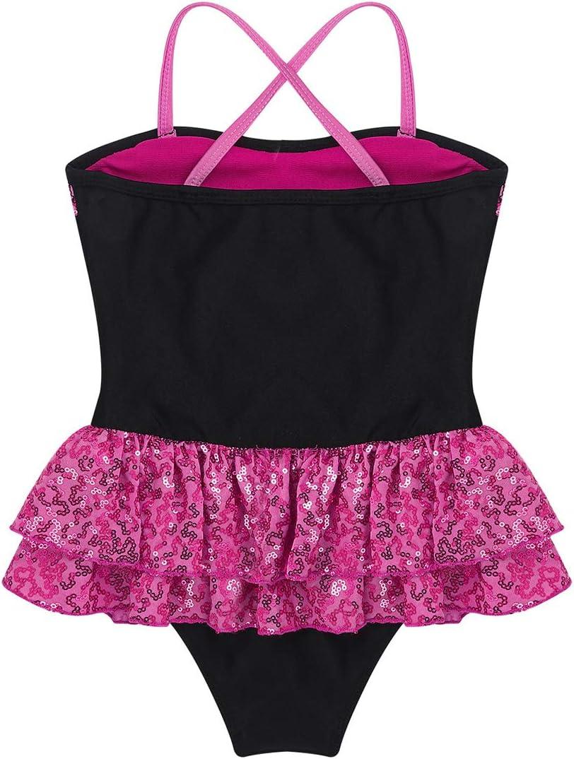 TiaoBug Kids Girls Sequins Gymnastics Leotard Lyrical Modern Contemporary Ballet Dance Dress Costume