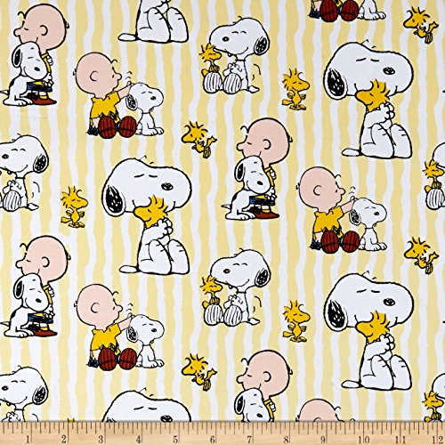Springs Creative Products United Media Peanuts Everyday Cotton Snoopy Stripe Yellow Fabric by The Yard, -