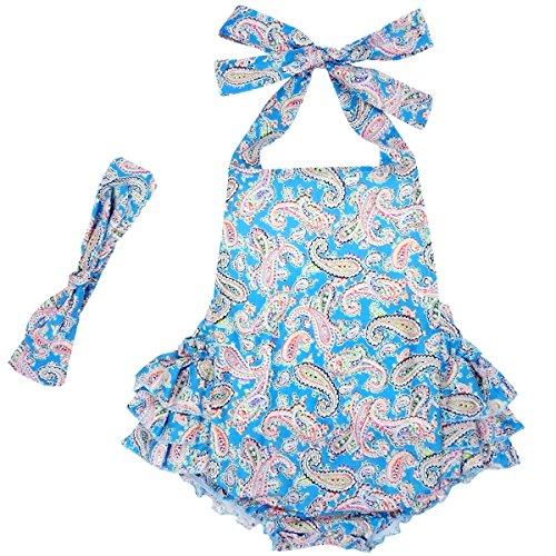 DQdq Baby Girls' Floral Print Ruffles Romper Summer Dress Blue Cashew Nut 12 Month -