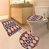 3 Piece Anti-slip mat set Orienta Double Batik Weaving Style Graphic Forms Cultura Artisan Work Red Orange Tea Non Slip Bathroom Rugs