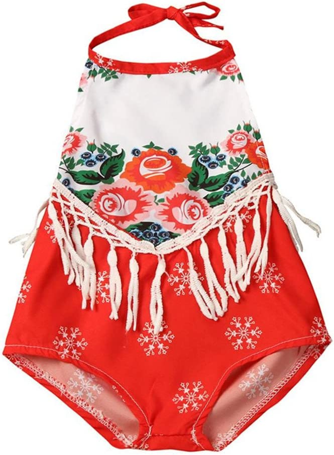 Franterd Baby Girls Ethnic Flower Printing Tassels Backless Halter Romper Sunsuit