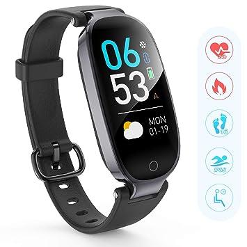 AGPTEK Pulsera Actividad Inteligente, Reloj Inteligente con Pantalla en Color, GPS, Pulsómetro, 16 Modos de Deporte, Monitor de Sueño para Mujer, ...