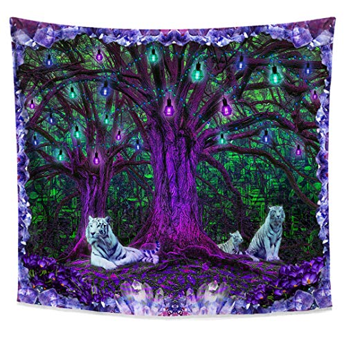 Lucid Eye Studios Tiger Tree Psychedelic Tapestry- Green Matrix Blacklight Wall Hanging- Amethyst Room Decor- Nature Forest Tapestry- Tree of Life Leaves -