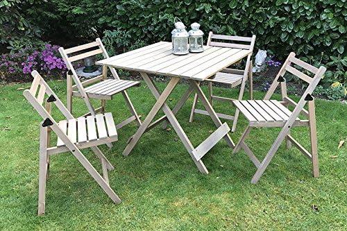 Damiware Bistro - Juego de muebles de jardín, 5 piezas, de madera ...