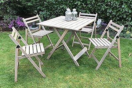 Damiware Bistro - Juego de muebles de jardín, 5 piezas, de madera de haya, 4 sillas, 1 mesa extensible, muebles de terraza de madera, muebles para ...