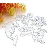 G-003 3 by 5.7 Inches Sea Animals Starfish Dolphin Crab Tortoise Metal Cutting Dies for Card Making Scrapbooking Christmas Craft Dies