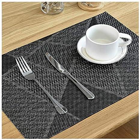 PVC PlacematS Set of 4 Anti Slip Washable Wove Table Mats 11.8/'/'X17.7/'/' Gray