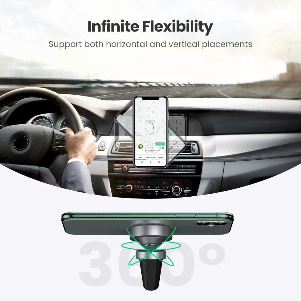 UGREEN Supporto Smartphone per Auto in Alluminio Supporto Magnetico Auto Girevole a 360 Gradi per iPhone XS Max X 8 7 6 Samsung S10 S9 S8 A50 A7 Huawei P30 P20 Mate 20 Xiaomi Mi A2 ECC. Nero