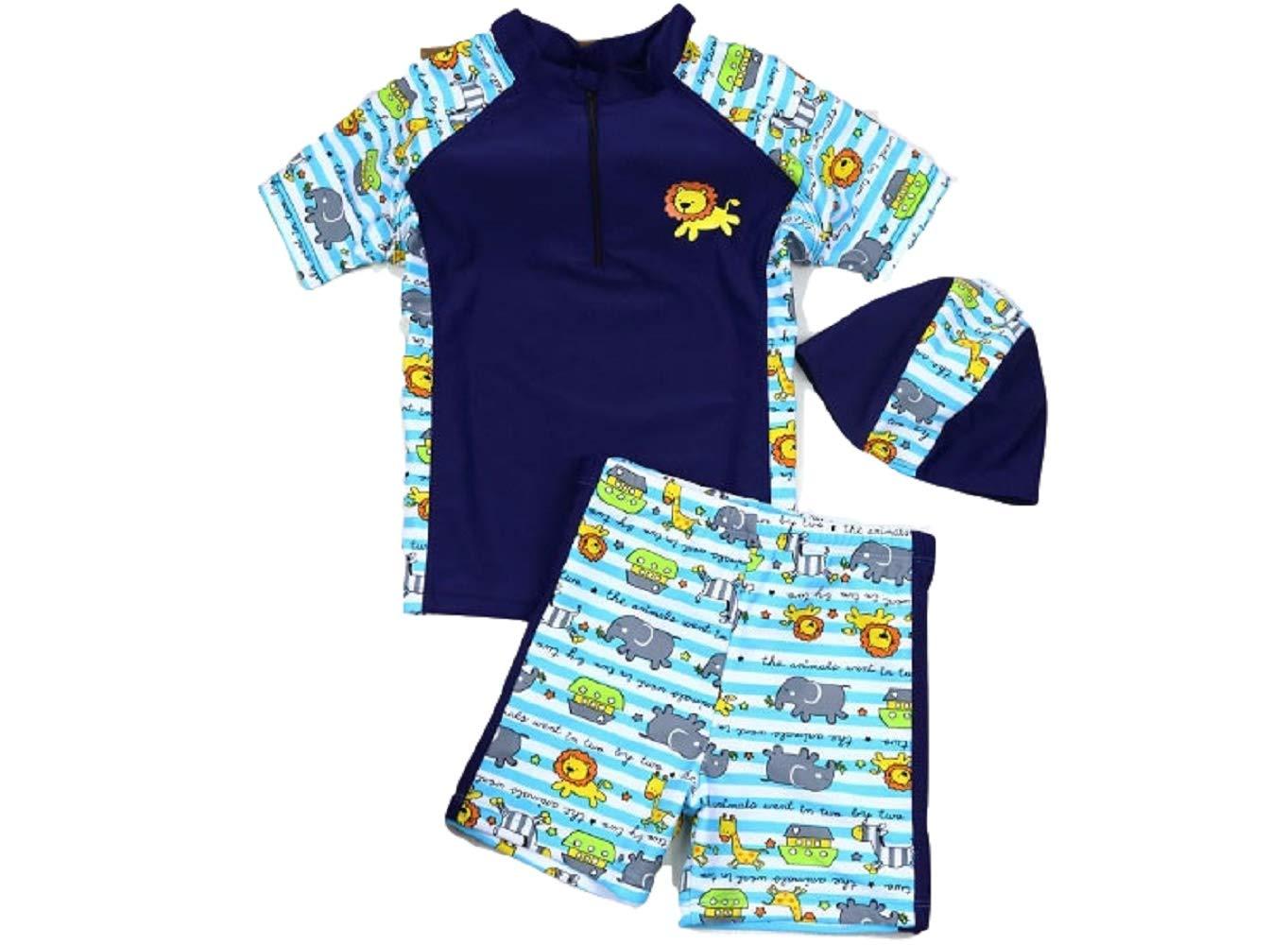Yunqir Kids Wetsuit 2 Pcs/Set Children's Short Spilt Swimsuits Kids Lions Patterns Sunscreen Wetsuit for Water Sports(Navy)