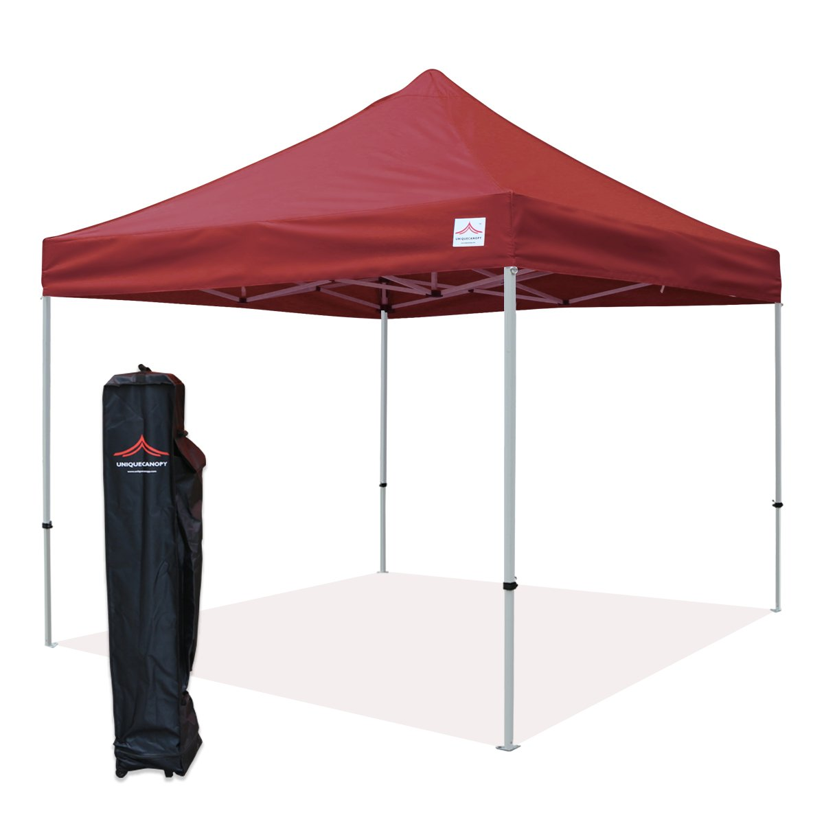 UNIQUECANOPY 10x10 Ez Pop up Canopy Tents for Parties Outdoor Portable Instant Folded Commercial Popup Shelter, with Wheeled Carrying Bag Wine Red